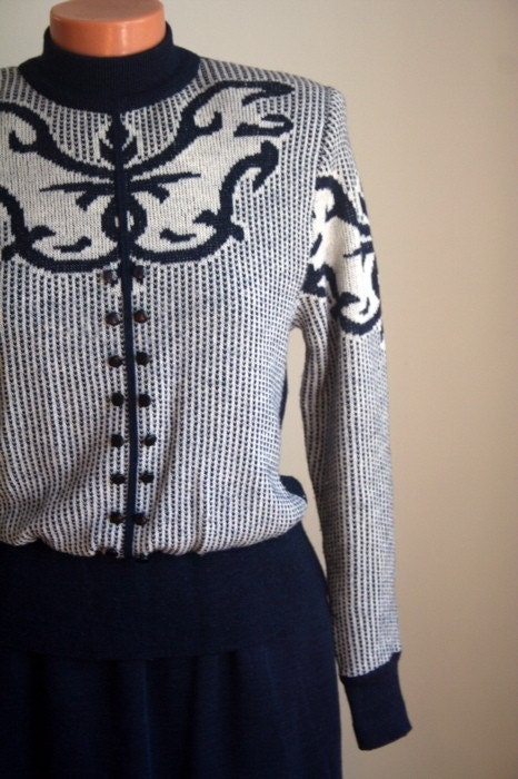 Vintage Nordic Sweater Dress sz S-M