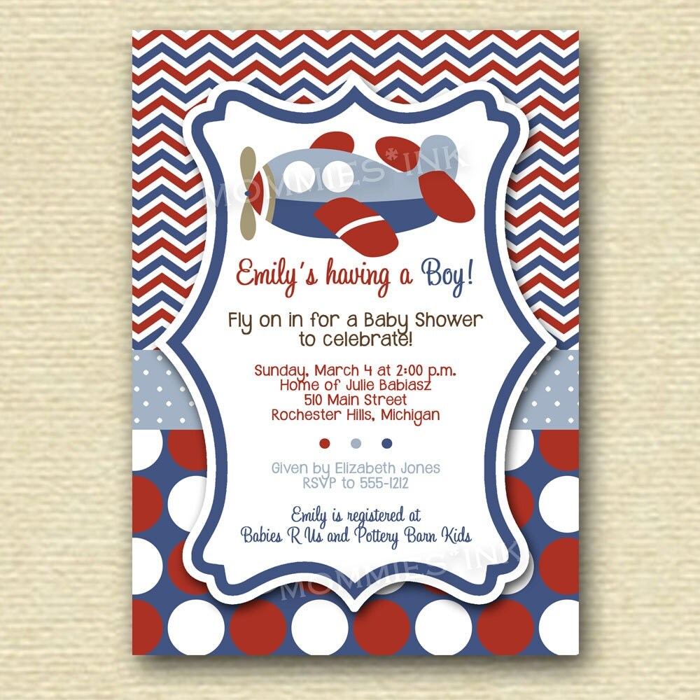 Chevron polka dot airplane baby shower invitation by for Airplane baby shower decoration ideas