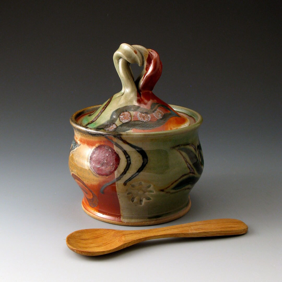 Sugar Bowl - Celadon and Shino - Ceramic Covered Lidded Jar