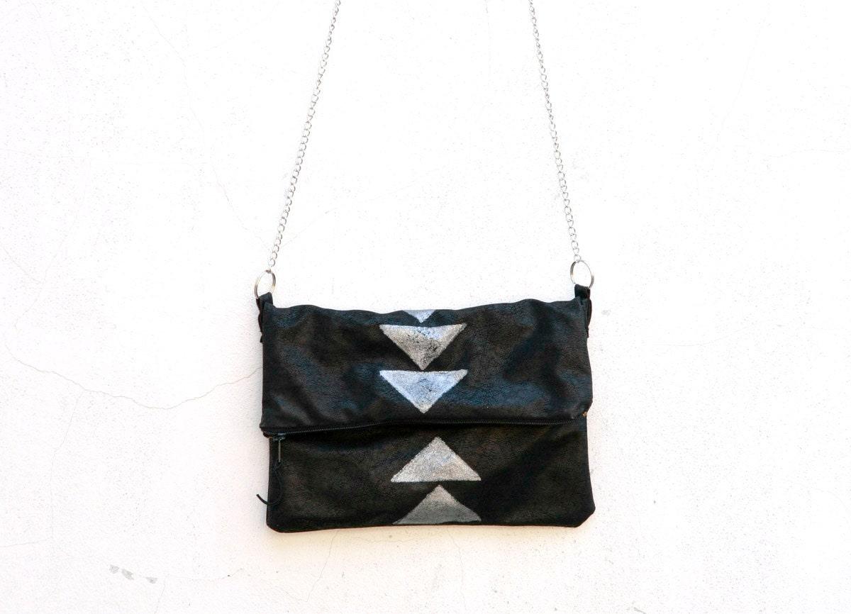 Black Clutch, Everyday Purse, Geometric Purse , Handbags,  Handmade Small Bag with  geometry stamp - MyHouseOfDreams
