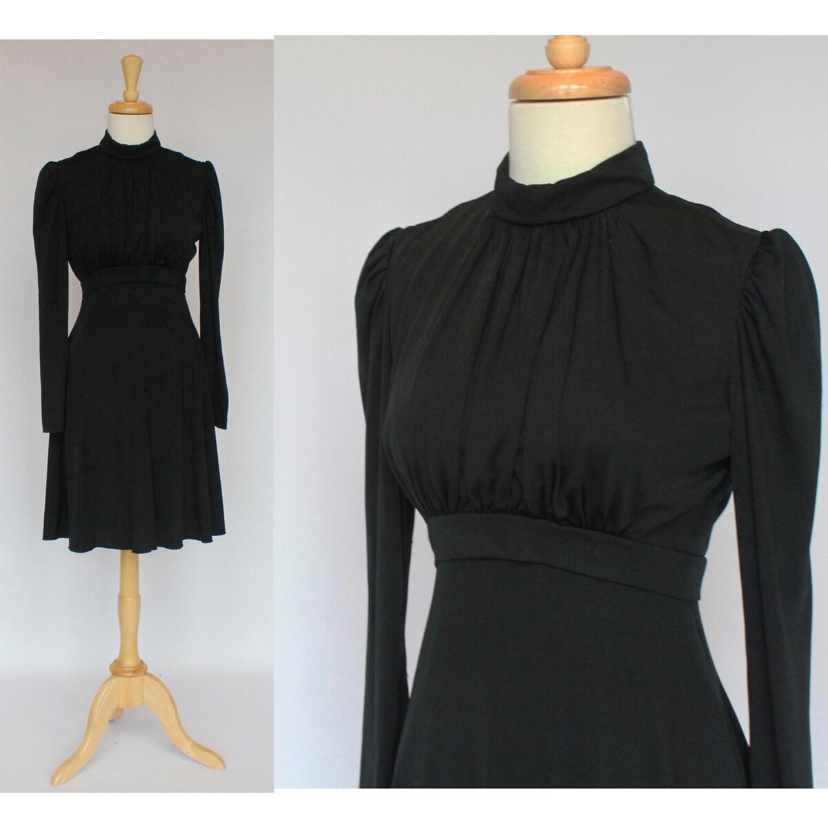 60's/70's  Black Knit Empire Waist Baby Doll Mini Dress - XSmall to Small