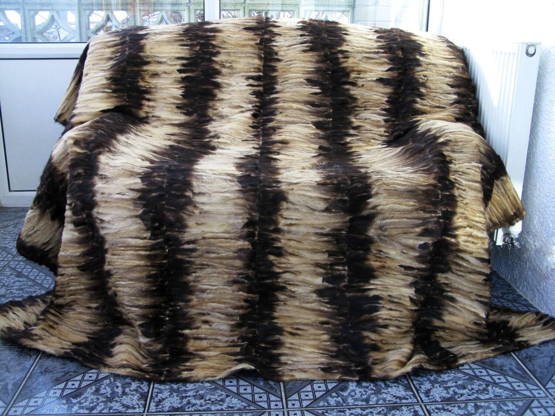 Luxury genuine MINK paws fur throw blanket natural colours size 220cm x 200cm 505b