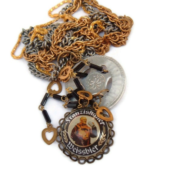 Good Luck Friar Tuck Recycled vintage and beer cap necklace Cheers