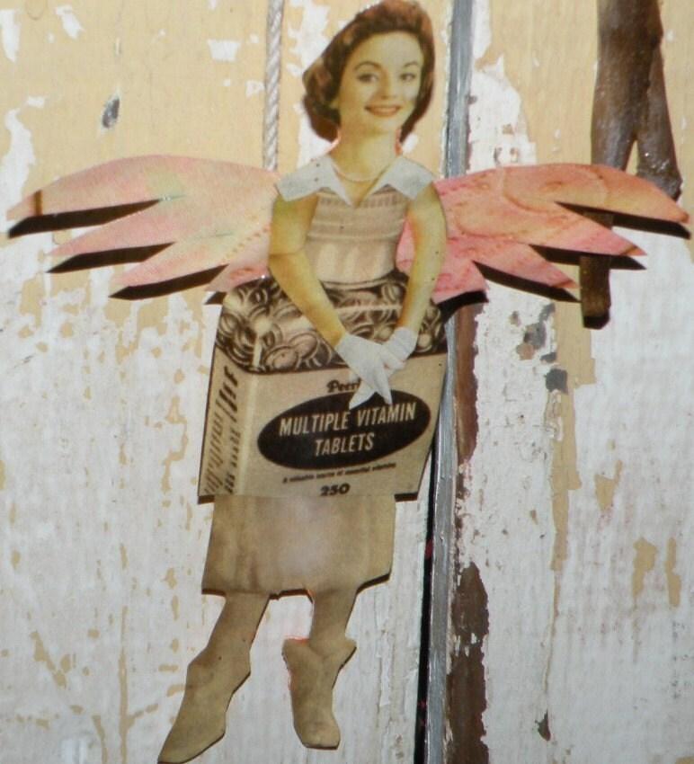 HOLD / OHIO EXHIBIT Ira Mency Paper Fairy Ornament No 109 Little Lass Cottingley - Vintage Ephemera Faery - reclaimed