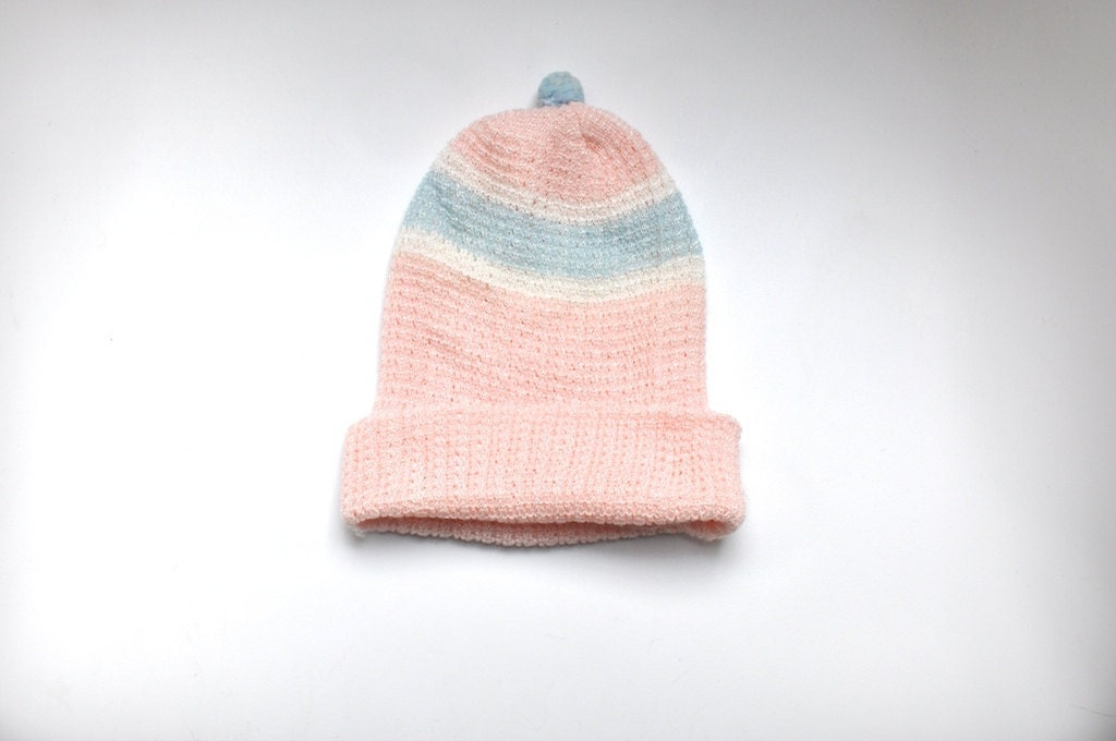 Vintage Pink and Blue Knit Pom Pom Hat (6 months) - littlereadervintage