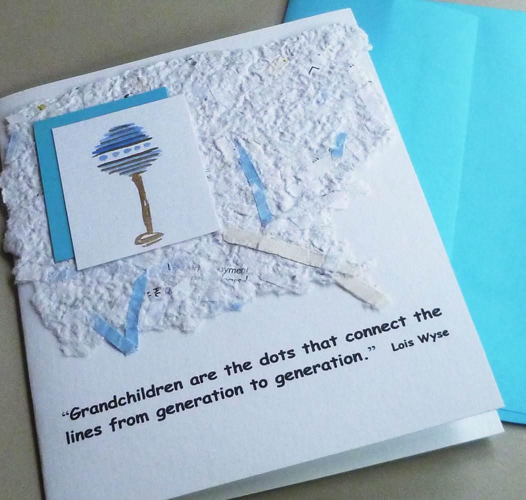 Grandparents Quote Baby Card with Handmade Paper