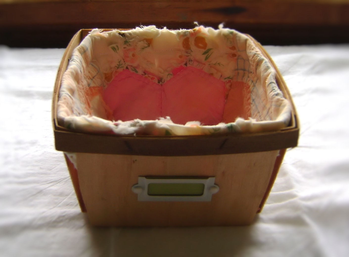Upcycled vintage berry basket with vintage quilt liner