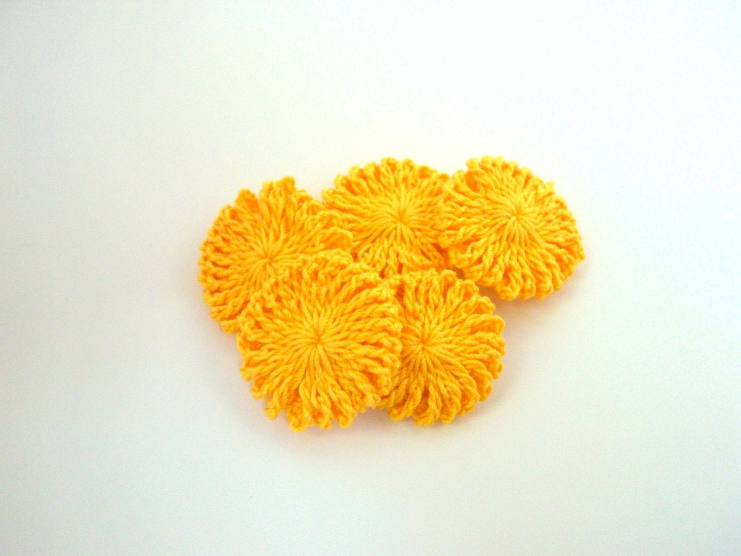 GOLDEN YELLOW CROCHETED YOYO  FOR APPLIQUE by GULTEN on Etsy from etsy.com