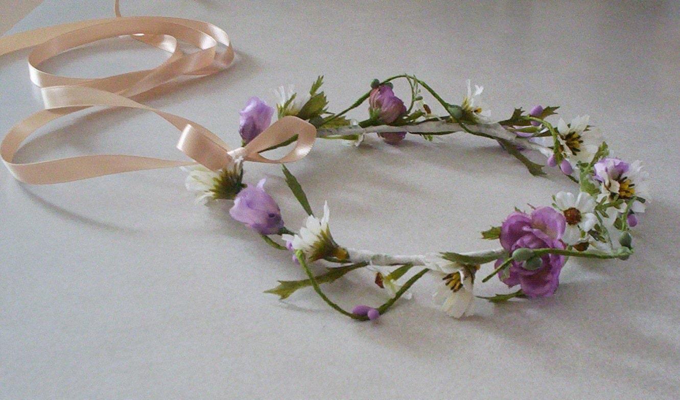 Bohemian Hair Wreath Flower crown Lavender