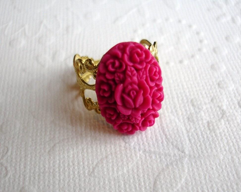 Raspberry Rose In Bloom Filigree Brass Ring