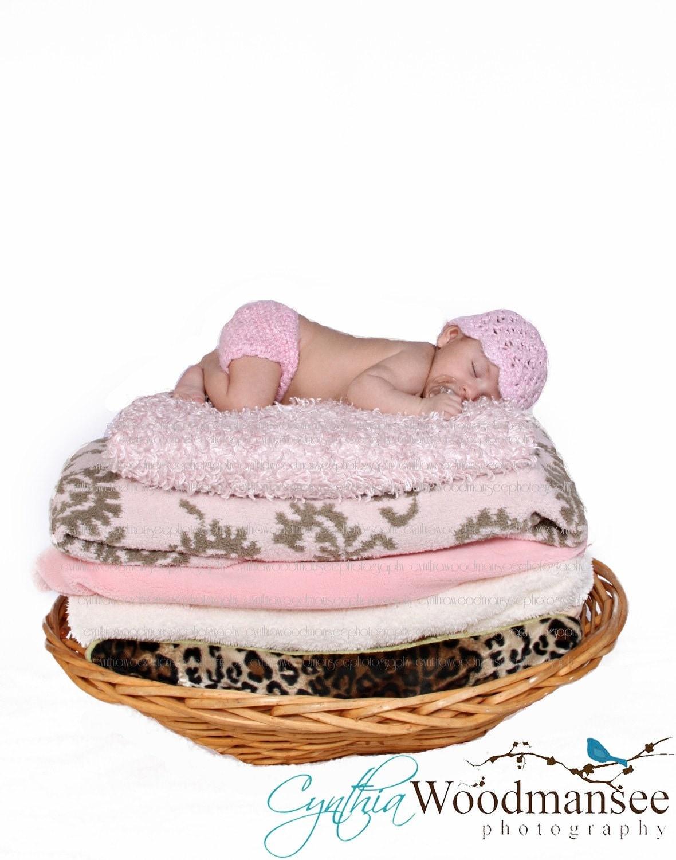 Вязаный Babmboo Хлопок новорожденных шапочка и пеленки Обложка Установить фотография Prop