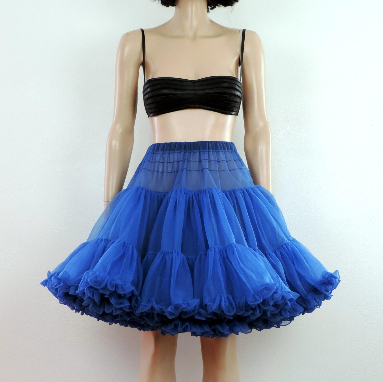 blue crinoline petticoat vintage skirt s m by poetryforjane