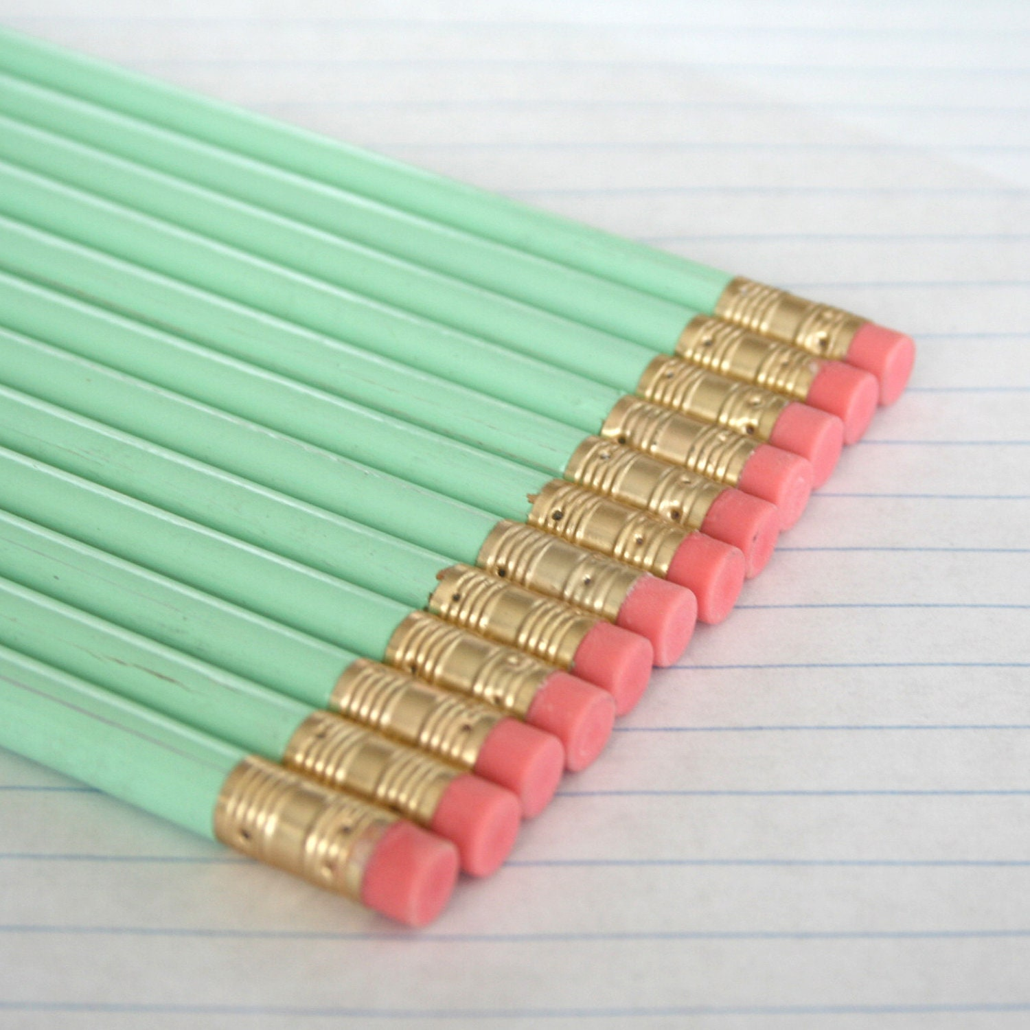 40 imperfect pastel mint green pencils. back to school supplies - thecarboncrusader