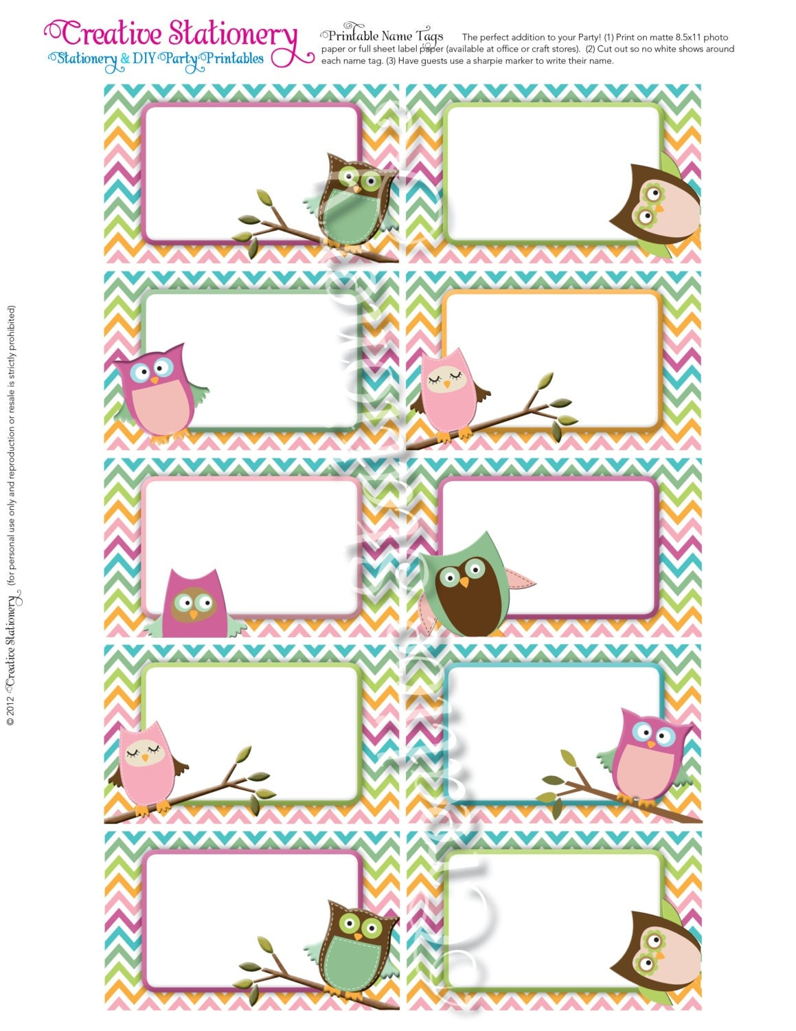 Owl Baby Shower Name Tags. Pink Orange Green by CreativeStationery