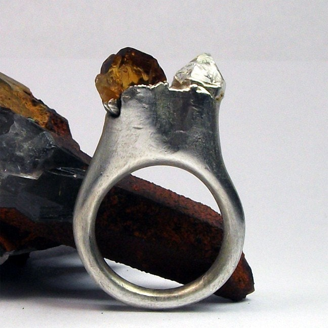 Silver Ring Citrine Herkimer Crystal Amber Diamond Organic Handmade Artisan