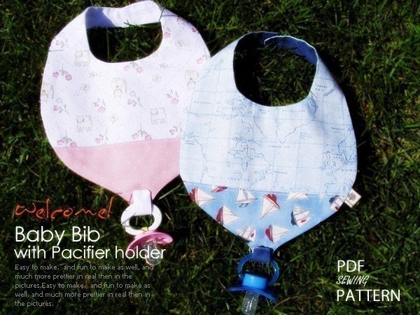 no 170 Baby Bib with Pacifier Holder PDF Pattern