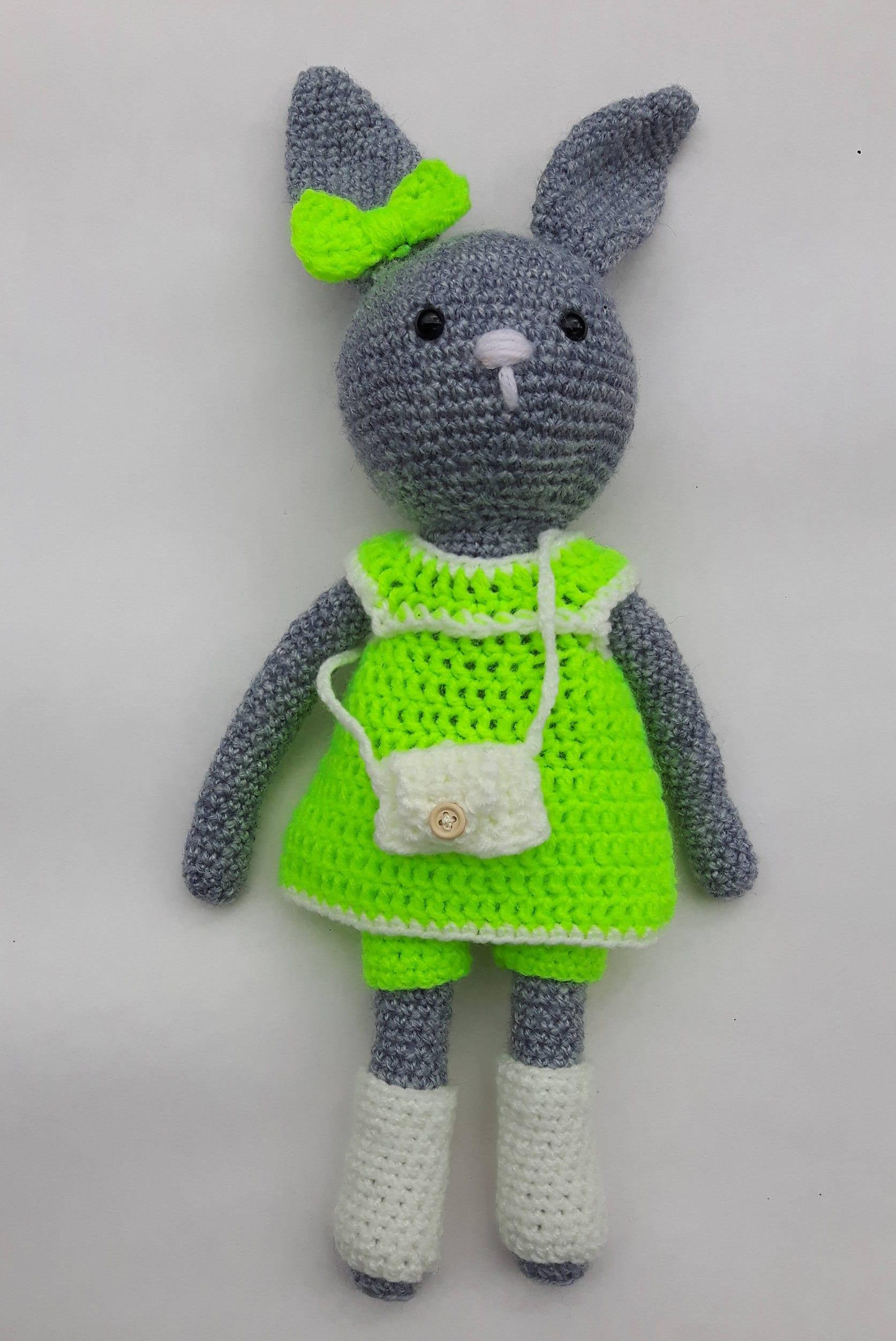 Amigurumi Bunny Crotchet Bunny Stuffed Animal Plushed Toy Stuffed Rabbit Kids ToyUnique Decoration