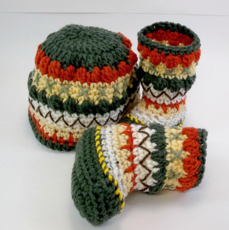 Crochet Baby Hat and Mukluk Booties Autumn Colors OOAK Size 3-6 Months - TwentySecondStreet