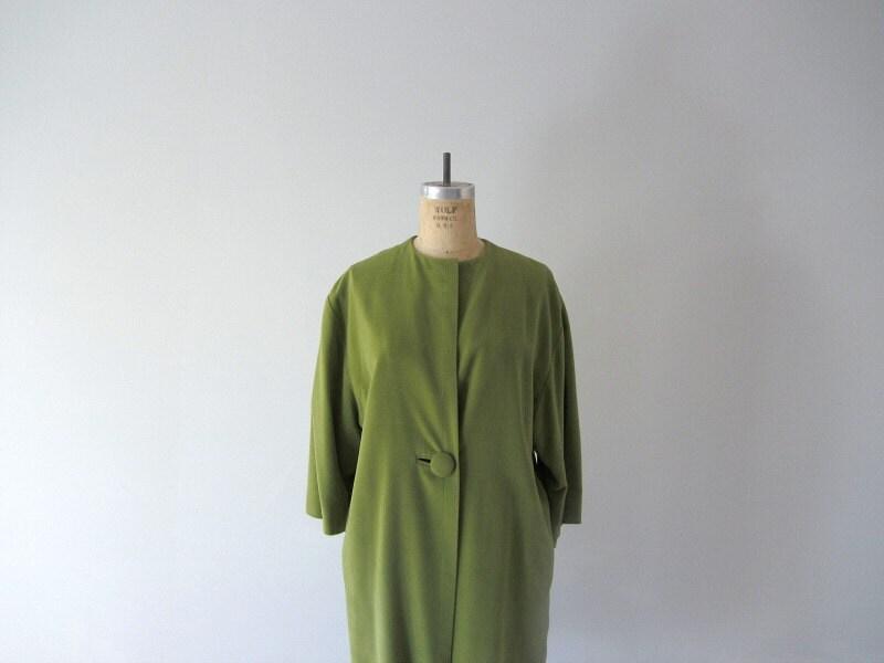 1950s velvet coat . 50s vintage velveteen jacket . moss green - BlueFennel