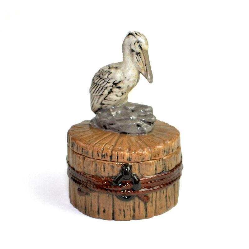 Pelican Trinket Box Nautical Bird On Post Hand By Onerustynail
