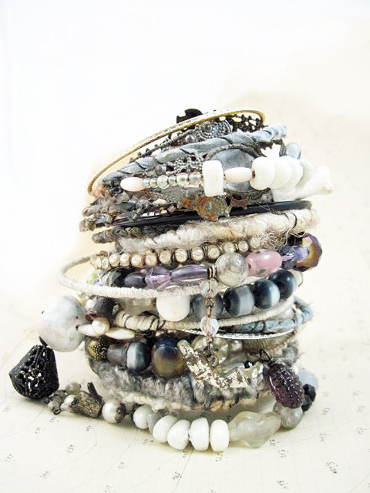 Philo-Sophia. Victorian Tribal Gypsy Assemblage Bangle Stack in whites and greys.
