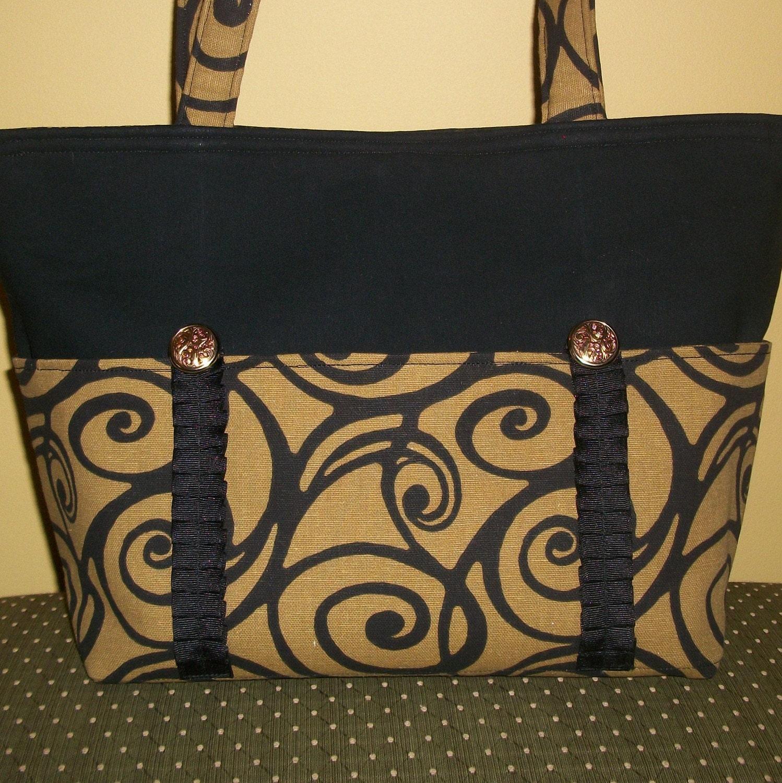 Handbag Tote - Black Swirl on Tan - or Diaper Bag