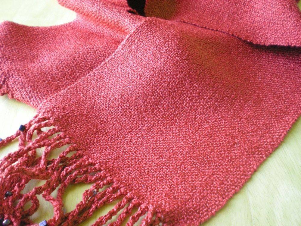 Harvest spice handwoven rayon boucle scarf