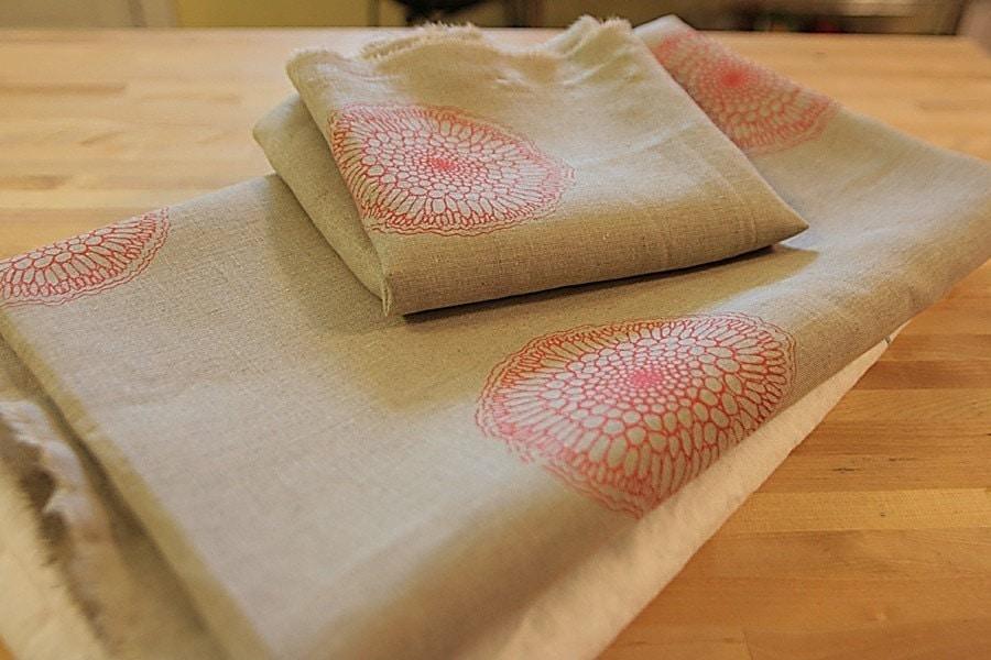 Yardage - Handprinted Linen Fabric