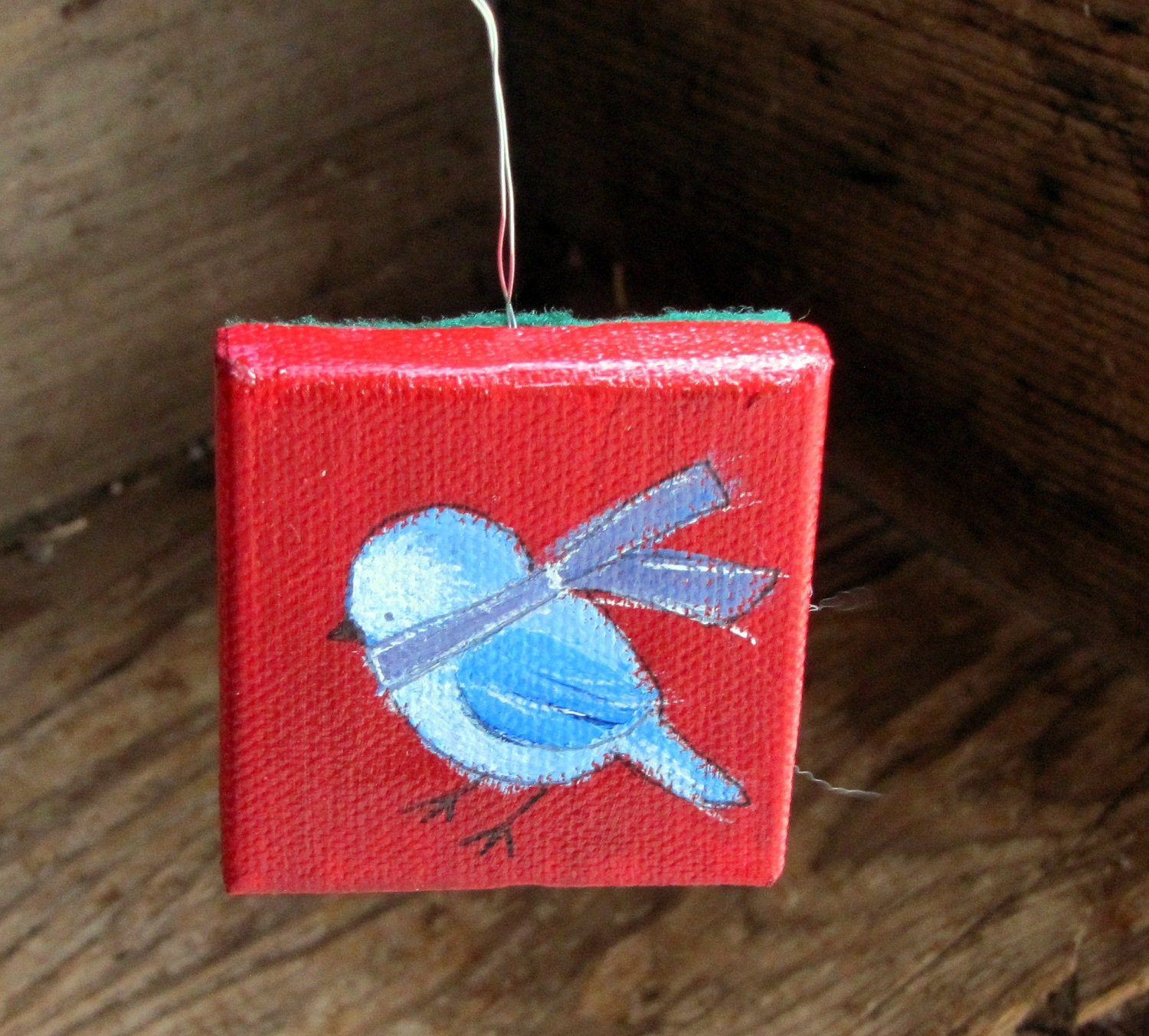 Original Art Mini Canvas Christmas Ornament, Whimsical Painting, Little Blue Bird - andralynn