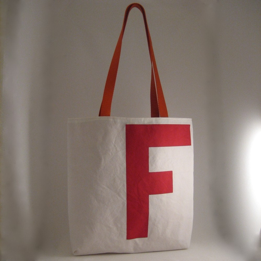 Reiter8 Red F Recycled Sail Tote Bag
