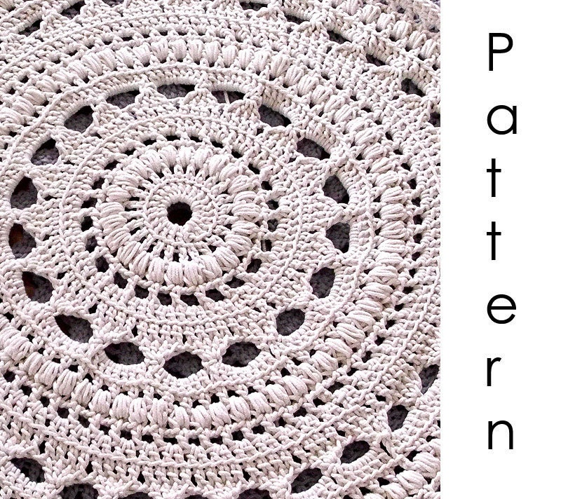 Crochet Patterns Free Rugs : Crochet pattern Pdf doily crochet rug by dziergalnia on Etsy
