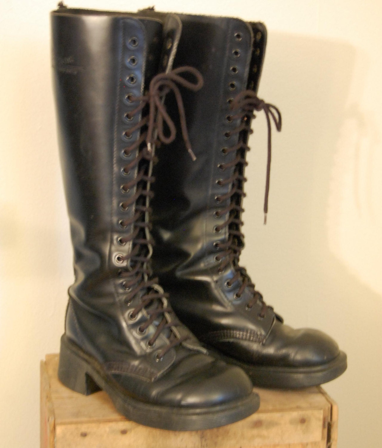 doc martens 20 eye black leather boots by perfectlyxdreadful