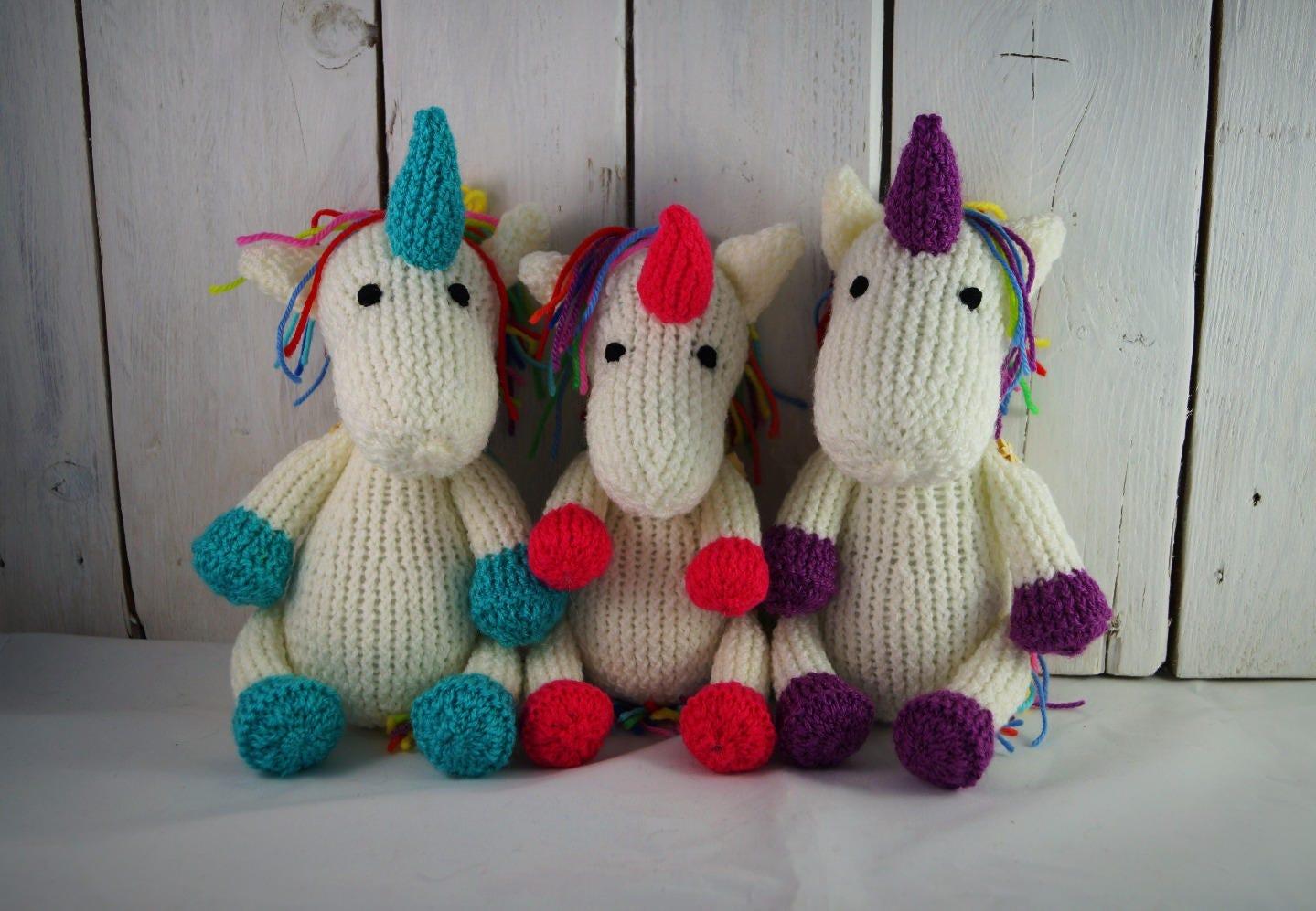 Unicorn hand knit knitted horse teddy soft toy cuddly photo prop gift baby shower stuffed animal nursery decor Waldorf toy crochet birthday