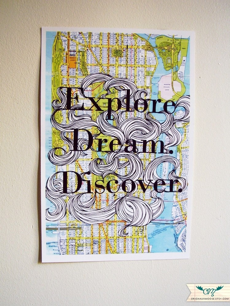 Explore Dream Discover Map - 11x17 Poster