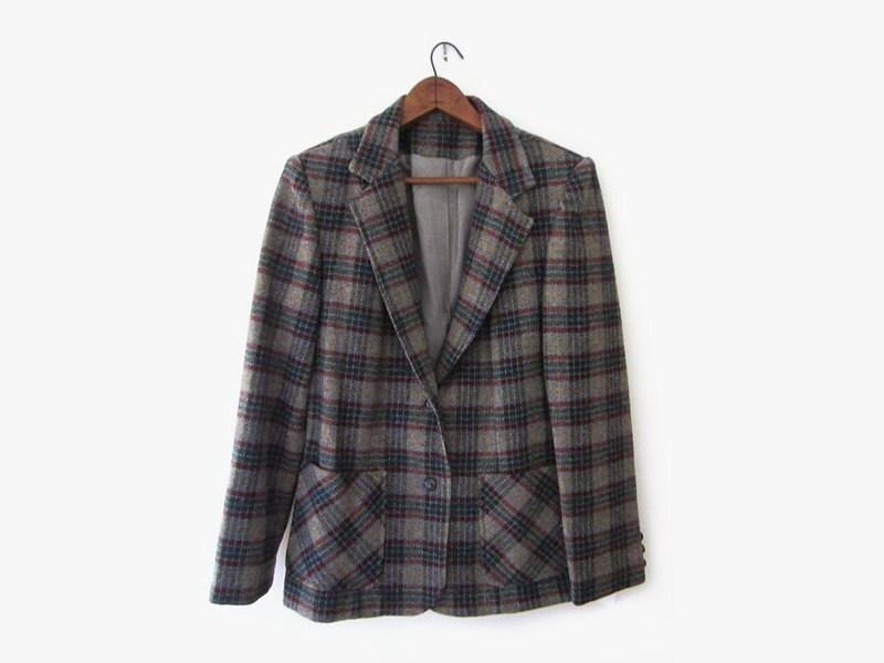 vintage 70s wool jacket, grey plaid blazer, size m - hemlines
