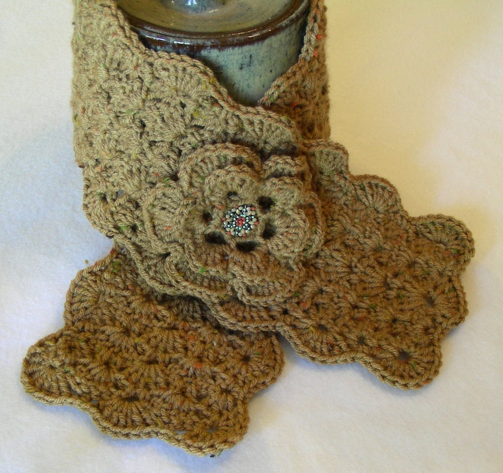 Caramel Brown Crochet Scarflette