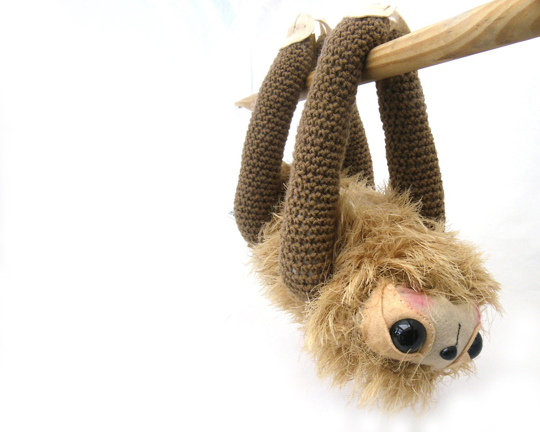 sloth plush amigurumi stuffed jungle animal by GretelCreations