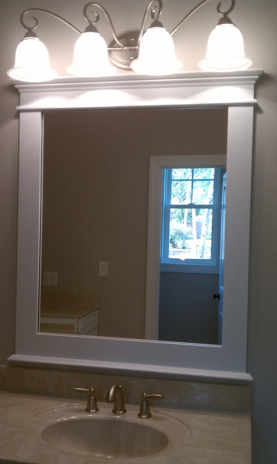 Craftsman style framed mirror by redclaywoodworks on etsy for Craftsman mirrors bathroom