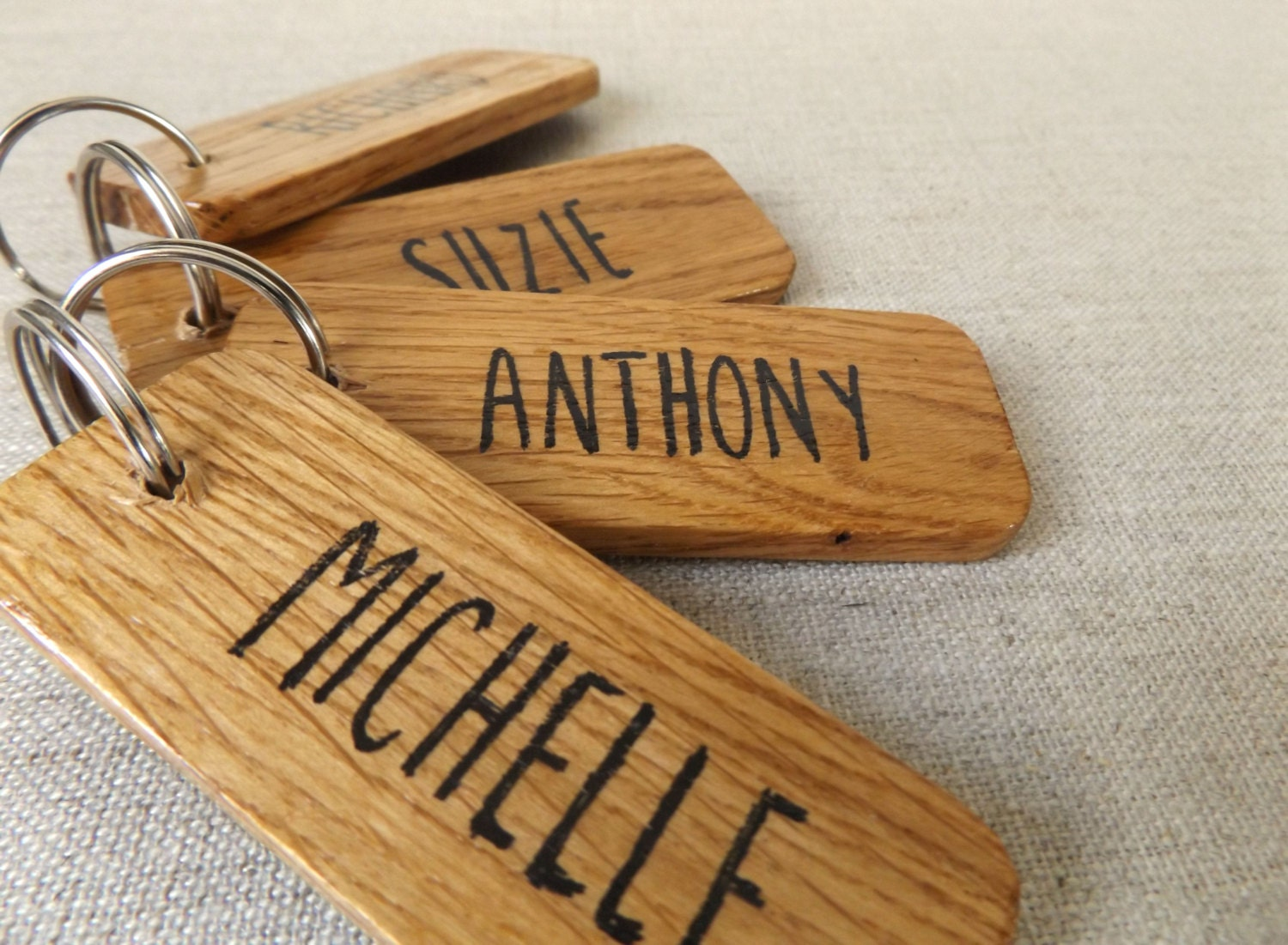 Set of 4 Team Keyrings  Personalised Name Keyring Set  Gift for Friendship Group  Squad Gift  Sports Team Souvenir  Oak Wood Keyrings