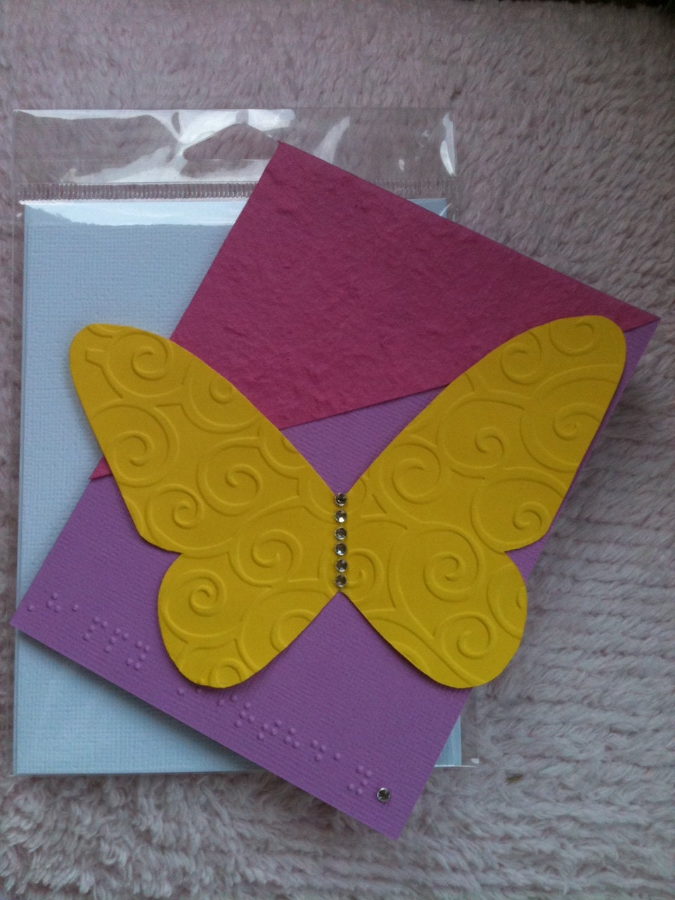"Butterfly Birthday Card with Braille ""Happy Birthday"""