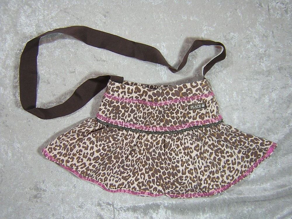 Leopard Print Small Upcycled Skirt Bag - Handmade by Rewondered D201P-00003 - $19.95