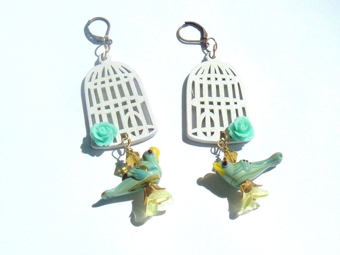 Birds Out Of The Cage Fly Away Handmade Earrings