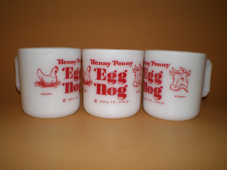 Henny Penny Egg Nog Mugs Hazel Atlas Milk Glass Advertising GPG