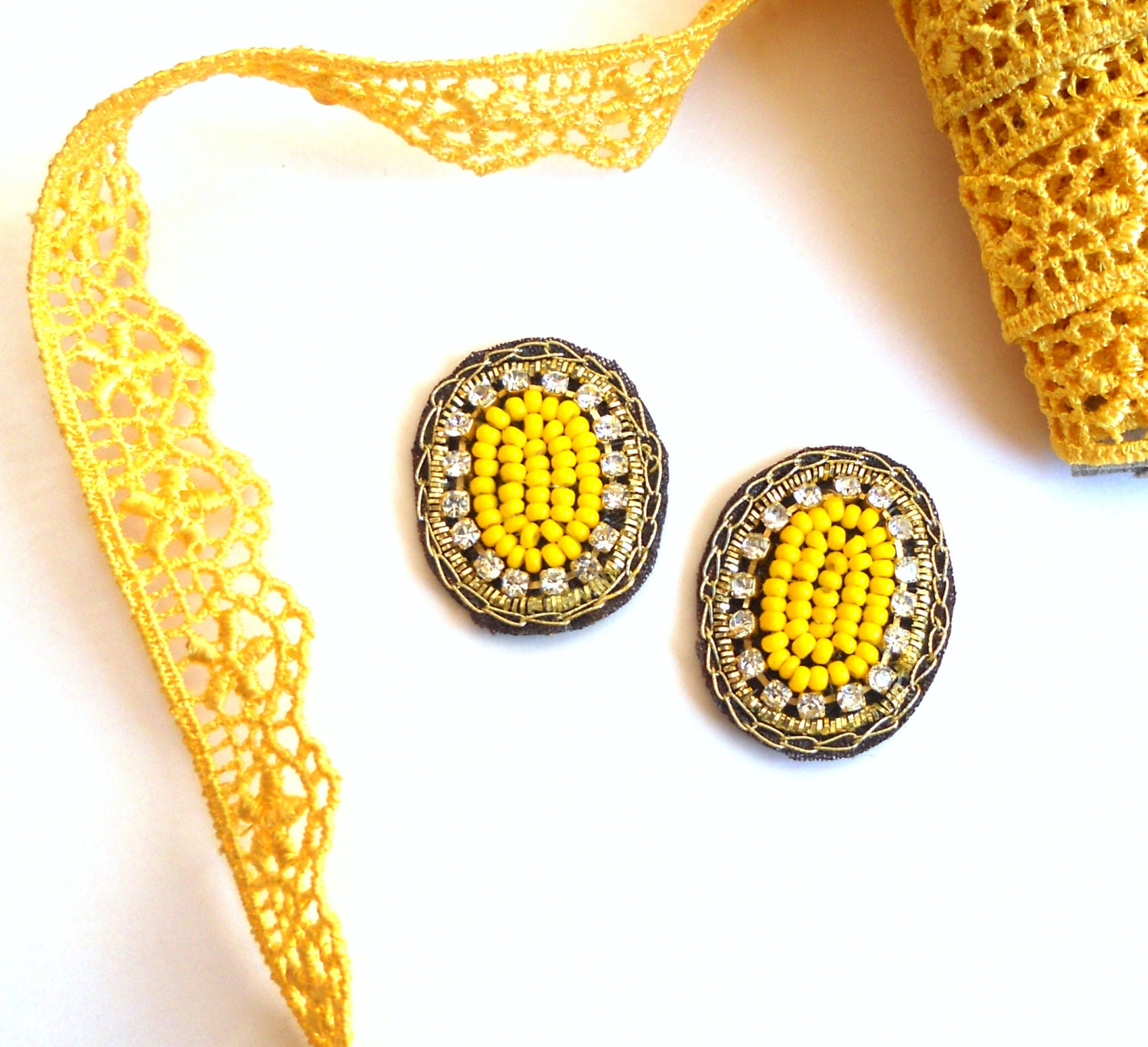 OOAK Bright Yellow Beaded Applique oval shape Handmade by Folk Stroke Boho Sunny Yellow Bohemian - FolkStroke