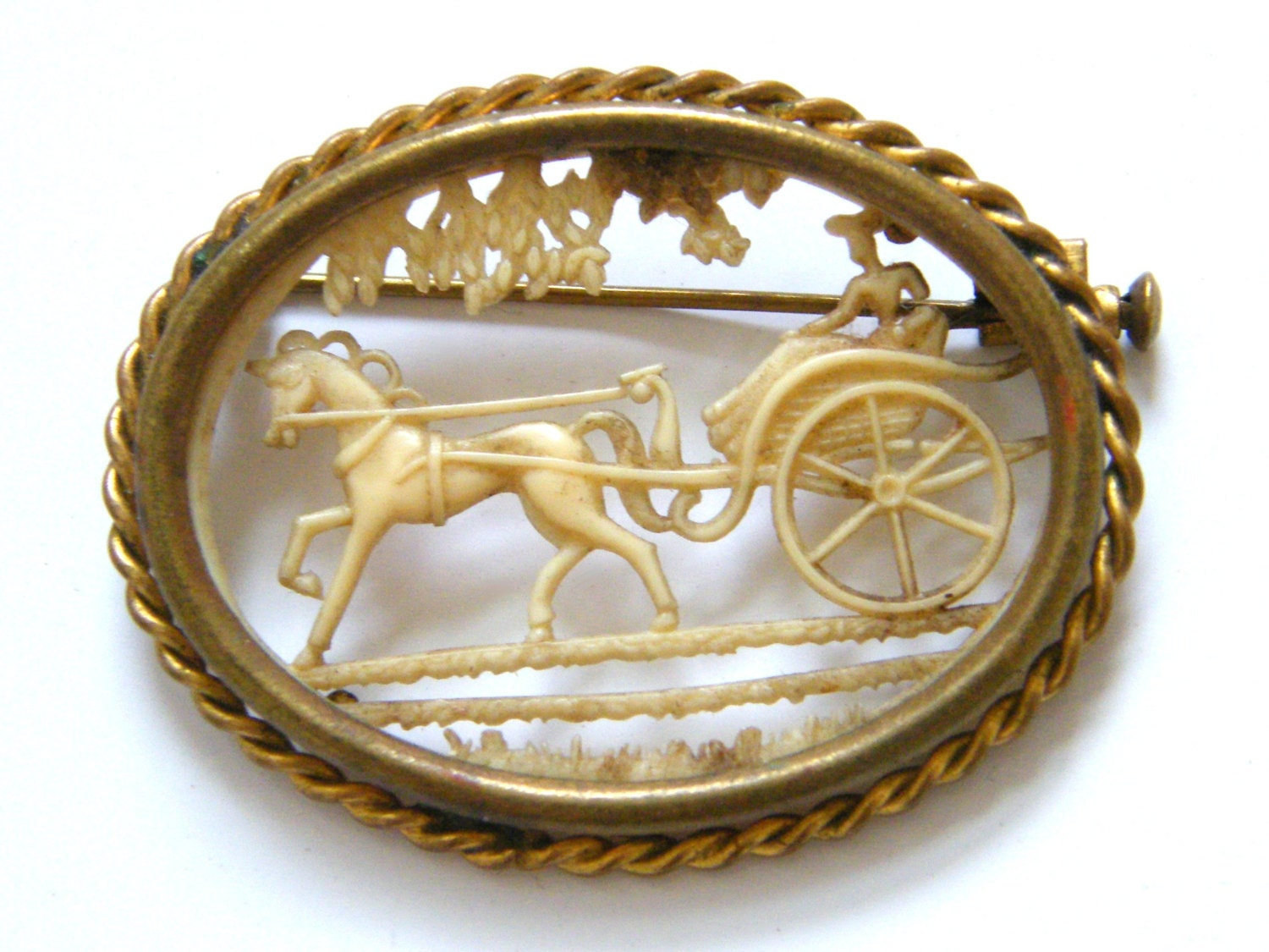 Vintage-French-Brass Metal/Celluloid-Victorian Style Pony & Trap/Carriage Picture Brooch-circa 1920's - Oldewurlde