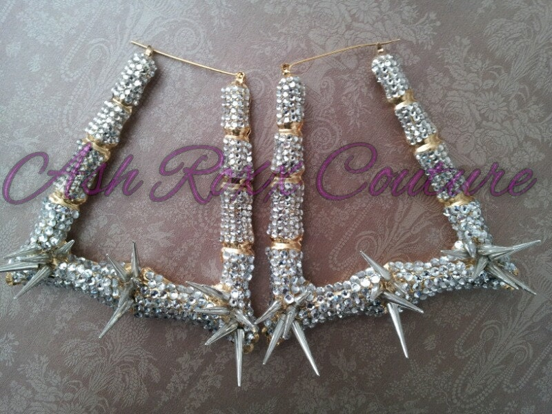 Gold Rhinestone Bamboo Spike Earrings