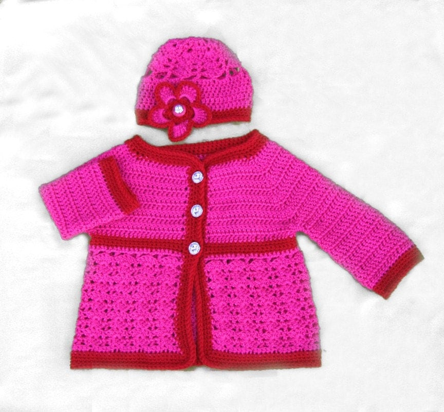 Christmas Candy Cane  Sweater and Hat Set with Sparkling Princess Diamond Buttons