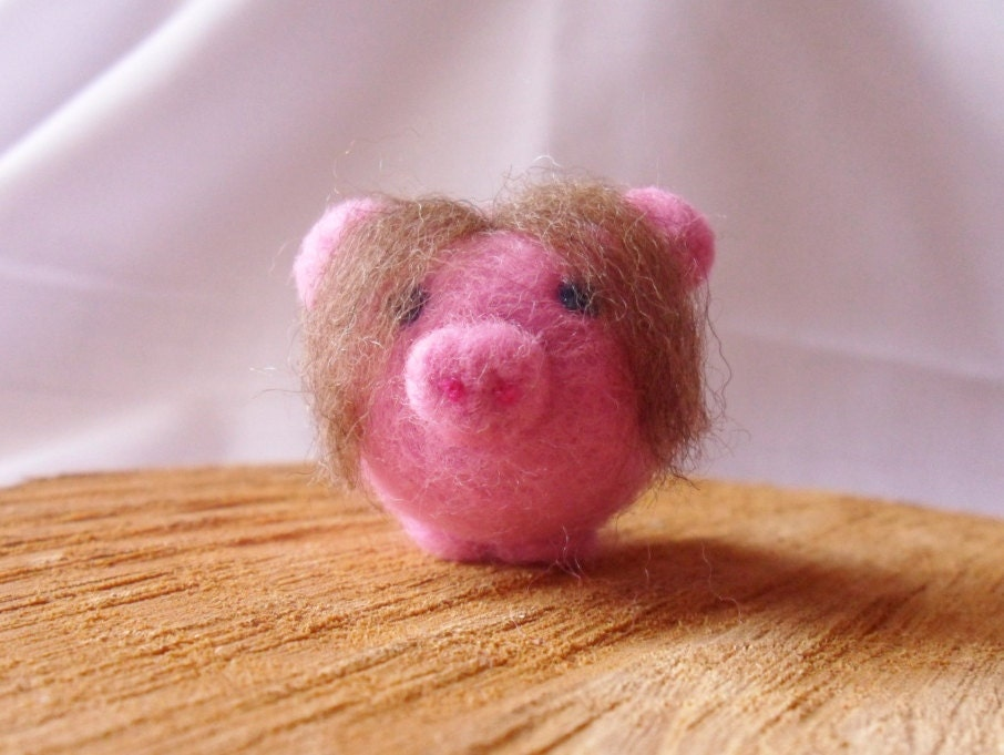 Needle Felted Pig -  miniature Nerd pig figure - 100% merino wool - Pig With Attitude