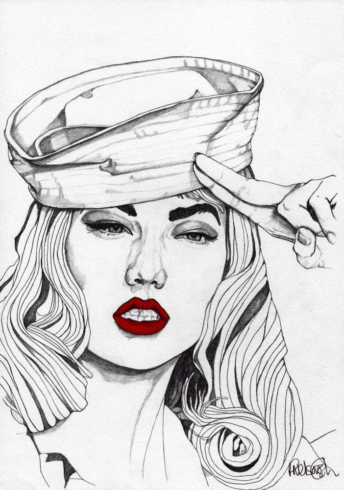 SAILOR GIRL 2 - ORIGINAL Signed Paul Nelson-Esch - Pencil Drawing Art Illustration