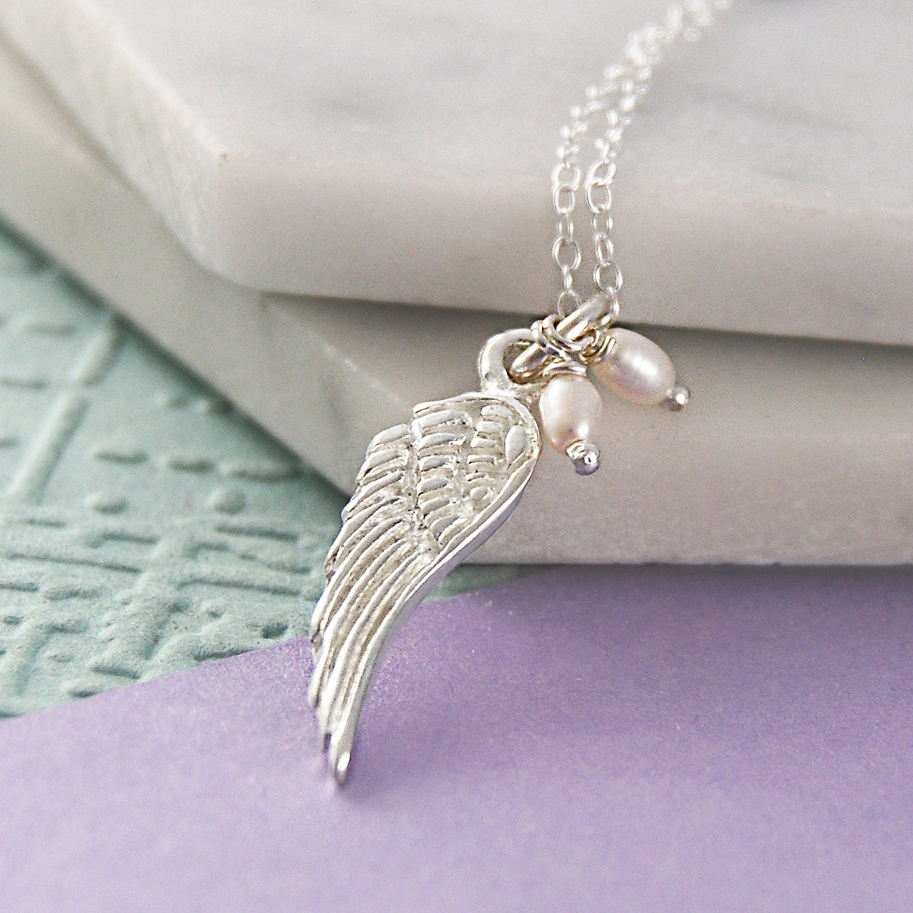 Angel Wing Necklace Pearl Necklace Bridesmaids Necklace Angel Wings Silver Feather Necklace 925 Silver Necklace Delicate Necklace